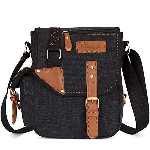 Kaukko Men's Small Canvas Leather Cross Body Messenger Bag
