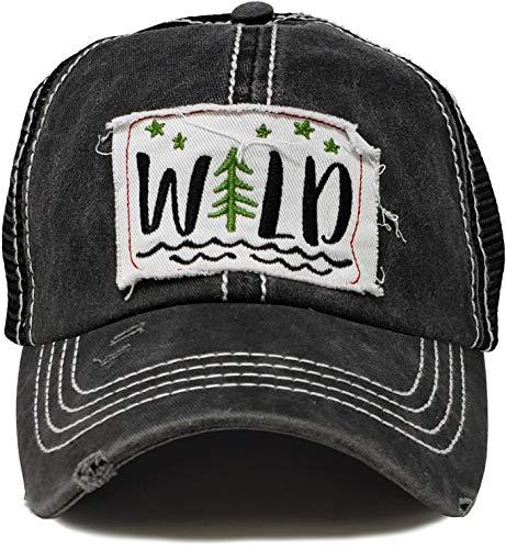 BH-200-WILD06 Patch Mesh Baseball Hat - Wild - Black
