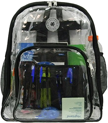 """17"""" Deluxe 0.5 mm Super Heavy Duty Vinyl See Through PVC Clear BackpackLM213 from D&D"""