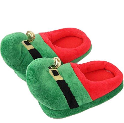 DANDANJIE Zapatillas navideñas, Pantuflas de Santa Caliente con Campanas Zapatillas navideñas de Novedad con Suelas Antideslizantes Rojo y Verde Zapatos caseros Verde