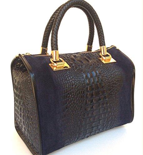 SUPERFLYBAGS Borsa Bauletto In Vera Pelle Camoscio stampa Coccodrillo Modello Isa Croco Made In Italy blu scuro