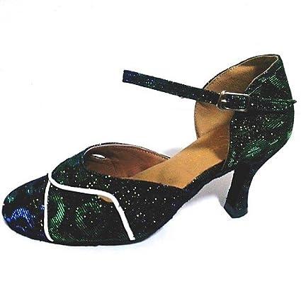 T.T-Q Zapatillas Brillantes de Baile de Mujer Moderna Sandalias Latinas Verdes Salsa Jazz Tango