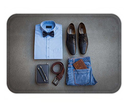 Beshowere Doormat men s casual outfits with blue jean brown wallet brown belt shoes blue shirt and bow tie on