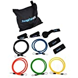 Cheap Exercise Bands Set: Resistance Bands with Handles, Door Anchor and Ankle Strap (11-piece set with Carry Bag)
