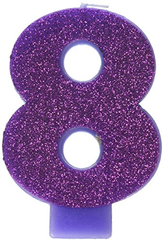 Amscan Birthday Celebration, Numeral #8 Glitter Candle, Party Supplies, Purple, 3 -
