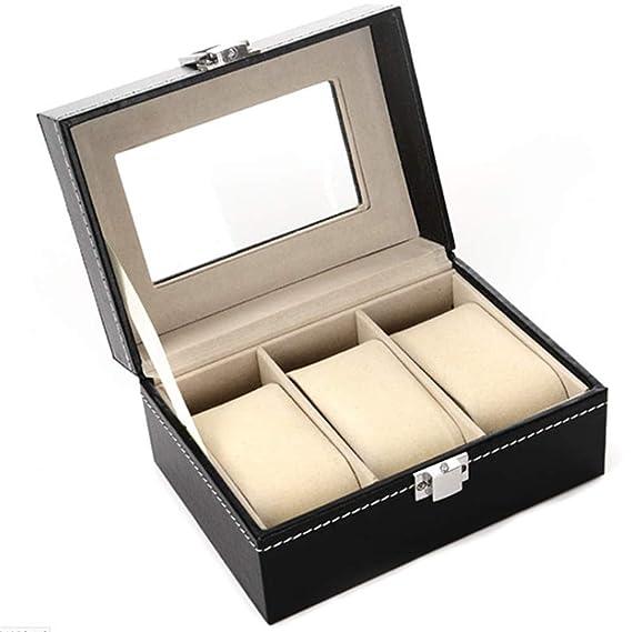 Xinlie Estuche para Relojes y Pulseras Caja para Relojes Caja de Almacenamiento de Reloj/Soporte de Exhibición de Relojes para Guardar 3 Pulseras o ...