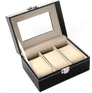 Xinlie Estuche para Relojes y Pulseras Caja para Relojes Caja de Almacenamiento de Reloj/Soporte de Exhibición de Relojes para Guardar 3 Pulseras o Relojes, Negro: Amazon.es: Relojes