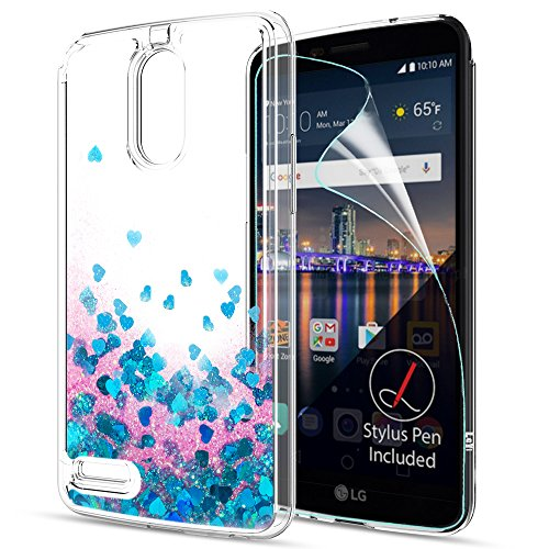 LG Stylo 3 Case,LG Stylo 3 Plus Case,Stylus 3 Liquid Case with HD Screen Protector,LeYi Cute Design with Moving Shiny Quicksand Glitter Girls Women Clear TPU Protective Case for LG LS777 ZX Blue