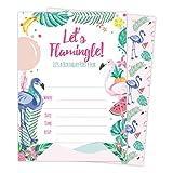 Hawaiian HI Maui Tropical Flamingo Style 3 Happy Birthday Invitations Invite Cards (25 Count) With Envelopes & Seal Stickers Vinyl Boys Girls Kids Party