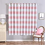 Efavormart 2 Panels White/Blush Cabana Stripe Thermal Insulated Blackout Curtains with Chrome Grommet Window Treatment 52″x84″ For Sale