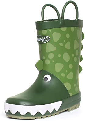 Kids Wellington Boot Pull On Dinosaur Welly in Green by Chipmunks