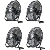 Air King 12-Inch 1/25 HP 3-Speed Industrial Pivoting Floor Fan (4 Pack)