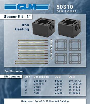 (MERCRUISER EXHAUST MANIFOLD RISER SPACER KIT (V6 & V8 3 | GLM Part Number: 50310; Mercury Part Number: 93320A5)