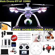 Blade Chroma Flight-Ready Drone with C-GO2+ 16 MP 1080p/60 3-Axis Stabilized Camera, ST-10+ Transmitter, FAZE Mini Quadcopter RTFProp Guard and Extra 6300mAh 3S 11.1V LiPo Battery