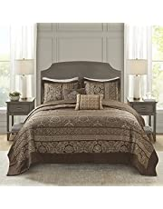 """Madison Park Quilt Traditional Jacquard Luxe Design All Season, Coverlet Bedspread Lightweight Bedding Set, Shams, Decorative Pillow, Oversized King(120""""x118""""), Bellagio Brown/Gold 5 Piece"""