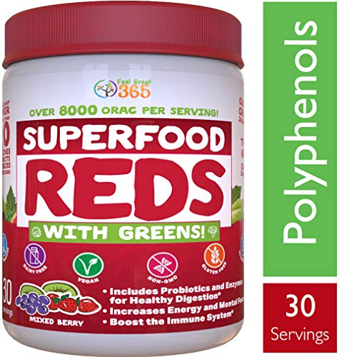 Superfood Vital Reds with Greens Juice Powder by Feel Great 365, Doctor Formulated,100% Non-GMO, Whole Food Multivitamin Powder - Fruits, Vegetables, Probiotics, Digestive Enzymes & Polyphenols ()