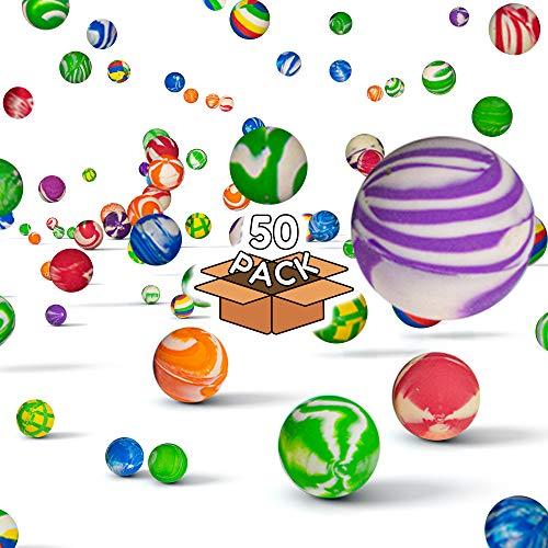 Fun Central AU198 50 Pieces, 38mm Assorted Bouncing Balls Bulk for Kids, Rubber Swirl Bouncing Balls, High Bouncing Balls