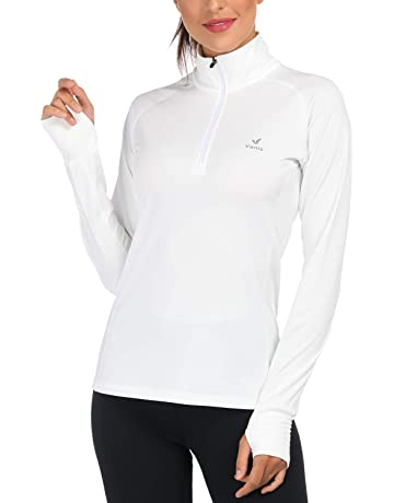 f4be9337b89 Women s Yoga Jacket 1 2 Zip Pullover Thermal Fleece Athletic Long Sleeve  Running Top with