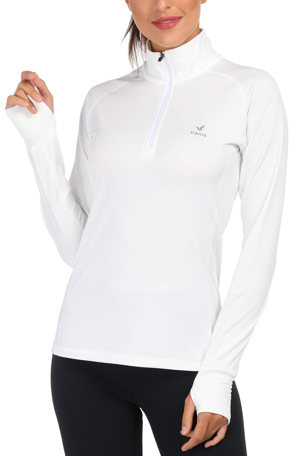 Women's Yoga Jacket 1/2 Zip Pullover Thermal Fleece Athletic Long Sleeve Running Top with Thumb Holes (White, X-Large) by Vanis