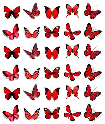 30 decorazioni per cupcake con farfalle rosse in carta di riso commestibile decorazioni per torte di compleanno