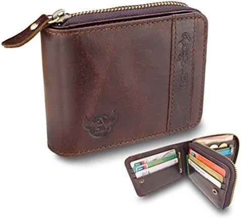 Admetus Men Gift Genuine Leather Bifold zipper Wallet With Elegant Box