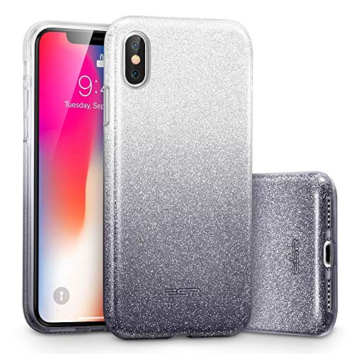 ESR Makeup Glitter Case for iPhone X/iPhone 10, Glitter Sparkle Bling Cover [Three Layer] for iPhone 5.8 inch (2017 Release only)(Ombre Black)