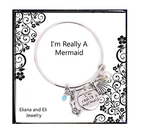 - Eliana and Eli Little Mermaid Bangle I'm Really A Mermaid Pendant with Pearls Crystals Shell Charms Collier Femme Kolye Bracelet Ocean Jewelry