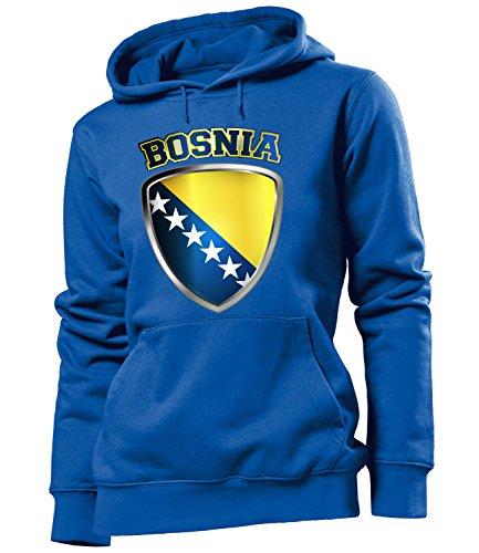 Copa del Mundo de fútbol - Campeonato de Europa de Fútbol - BOSNIA FAN mujer Capucha Tamaño S to XXL varios colores S-XXL Azul