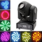 JUDYelc Pocket Spot Mini Moving LED Head Light 4 Color Light 30W with 9/11 Channel 8 Gobos Effect for Party Disco DJ Show KTV