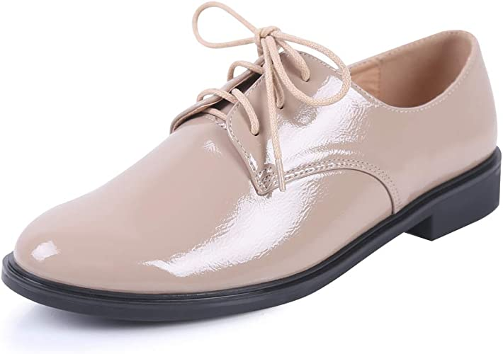 Womens Pumps Lace Up Shoes Flats Brogues Oxfords Casual Party Formal Loafers