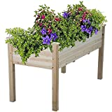 Topeakmart Solid Wooden Raised Vegetable Garden Bed Elevated Planter Kit Grow Gardening Box-Depth Box: 9.3inches, Load:220lbs