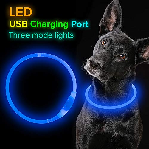 Led Dog Collar, USB Rechargeable Flash Dog Necklace Light, Pet Safety Collar Makes Your Beloved Dogs Be Seen at Night for Small Medium Large Dogs (Blue)
