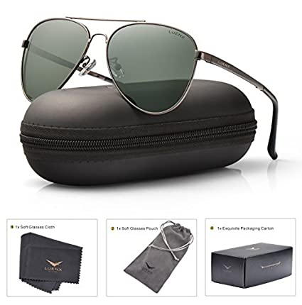 29de9f9711076 LUENX Men Women Aviator Sunglasses Polarized Non-Mirror Grey Green Lens Gun Metal  Frame with