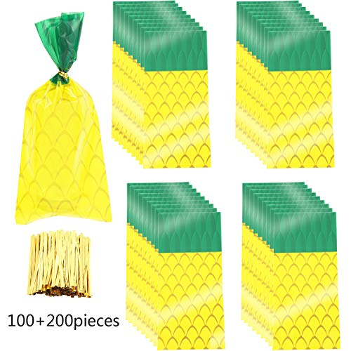 100 Pieces Pineapple Cellophane Bags Cellophane Treat Bags Party Favor Bags with 200 Pieces Gold Twist Ties for Cookies Candies Summer Hawaiian Holiday Holiday Swimming Pool Party