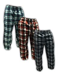 AMERICAN ACTIVE Men's 3 Pack 100% Cotton Flannel Lounge Pajama Sleep Pants
