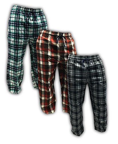 American Active Men's 3 Pack Cotton Flannel Lounge Pajama Sleep Pants (2XL 44-46, 3 Pack - Classics Flannel Winter Red Assorted Plaids)