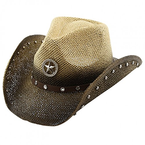 Studded Rhinestone Shapeable Cowboy Hat, Two-Tone