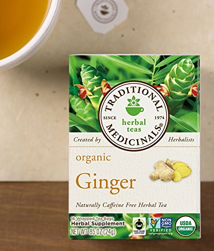 Traditional Medicinals Ginger, Herbal Tea, Organic, 16 CT (48 Wrapped Tea Bags)