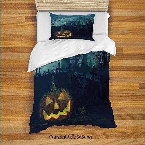 (Halloween Kids Duvet Cover Set Twin Size, Halloween Pumpkin in Spooky Graveyard Eerie Gloomy Stormy Atmosphere 2 Piece Bedding Set with 1 Pillow Sham,Petrol Blue)