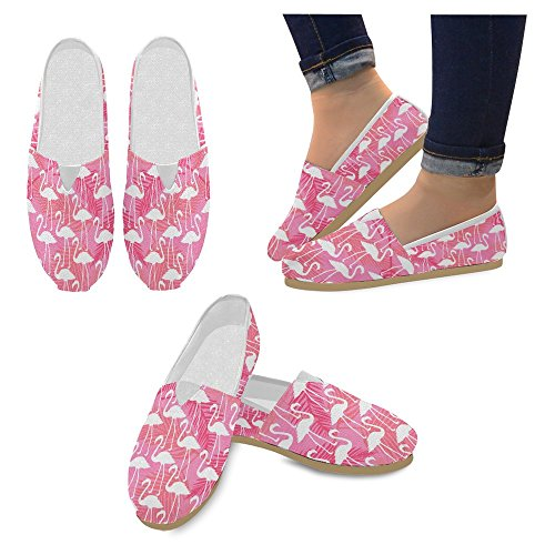 InterestPrint Women's Loafers Classic Casual Canvas Slip On Fashion Shoes Sneakers Flat Size 9 Flamingos Love Birds Romance by InterestPrint (Image #2)