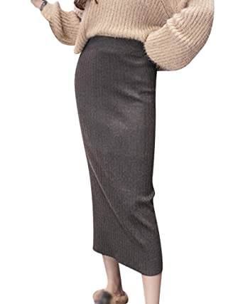 4e363b0b5357 Damen Rock Warm Lange Röcke Strickrock Stretch Einfarbig Slim Fit Bodycon  Röcke Grau