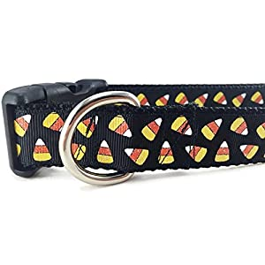 CANINEDESIGN QUALITY DOG COLLARS Halloween Dog Collar, Caninedesign, Ghosts, Candy Corn, Pumpkins, 1 inch Wide, Adjustable, Nylon, Medium and Large