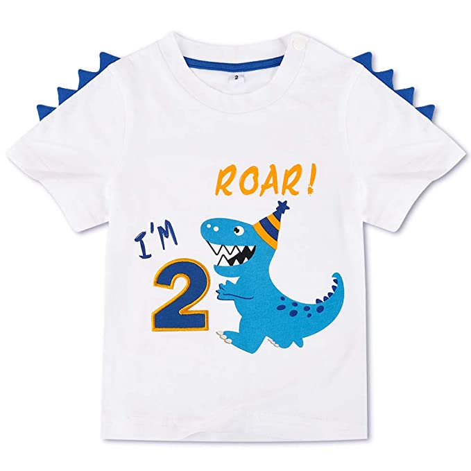 AMZTM Dinosaurio Camiseta de Cumpleaños - 2do Cumpleaños ...