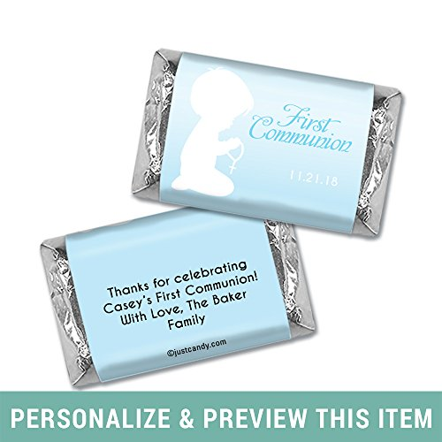 Personalized First Communion Hershey's Miniatures Candy Bar Wrappers Child in Prayer (100 Wrappers) - Sky