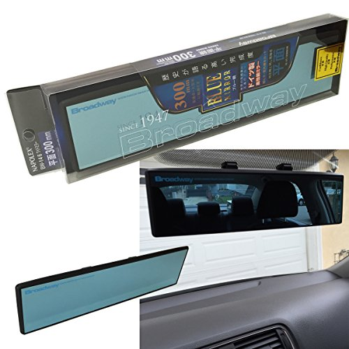 Universal Napolex BROADWAY BW-146 Blue Tint 300mm Flat Face Clip-On Wide Rearview Mirror JDM Style Sport Auto US Seller