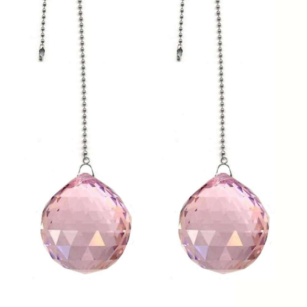 CrystalPlace Ceiling Fan Pull Chain 30mm Swarovski Strass Pink Faceted Ball Prism Fan Pulley Set of 2