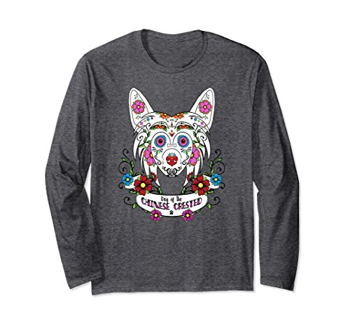 Unisex Day of the Chinese Crested Sugar Skull Long Sleeved T-Shirt Small Dark Heather (Sleeved Long Skull)