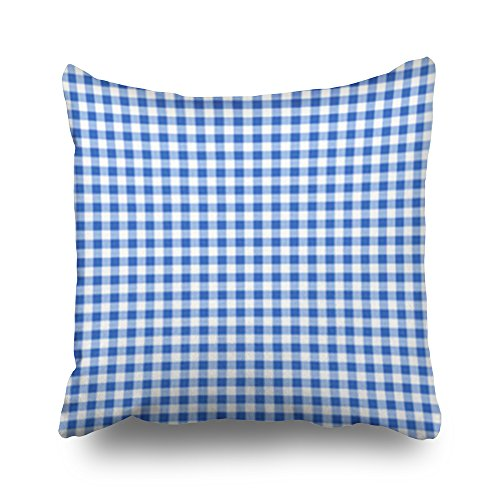 HeroWoW Throw Pillow Covers Blue White Checked Tablecloth Textures Beauty Fashion Gingham Custom Decor Pillowcases 16x16 Inches Square Home Decorative Cushion Pillow Cases -