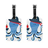 Vantaso Luggage Tags Set PU Leather Funny Blue Octopus In Dark Hat for Travel Suitcase