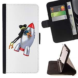 For Sony Xperia Z5 Compact Z5 Mini (Not for Normal Z5) Case , Rana Historieta Espacio- la tarjeta de Crédito Slots PU Funda de cuero Monedero caso cubierta de piel